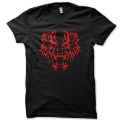 Tiger red tattoo t-shirt in black sublimation