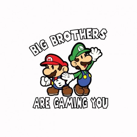 Big Brother Mario parody white sublimation t-shirt