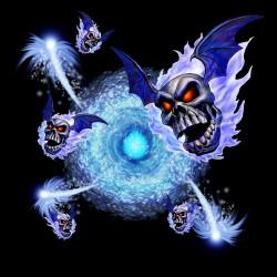t-shirt flying blue skulls black sublimation