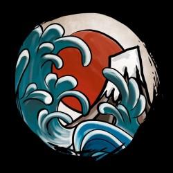 SHirt Hokusai Comic Black Sublimation