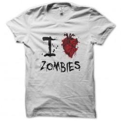 shirt I love zombie white sublimation