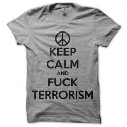 tee shirt keep calm fuck terrorisme gris sublimation