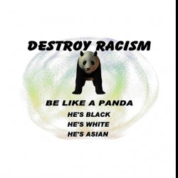 panda shirt against racism white sublimation