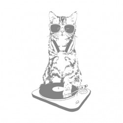 shirt dj cat miaow white...