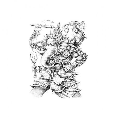 Ganesh warrior artwork white sublimation t-shirt