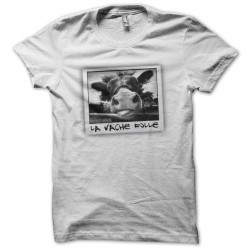 Crazy cow white sublimation T-shirt