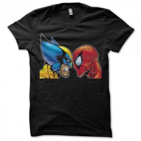 Wolverine t-shirt against Spiderman black sublimation