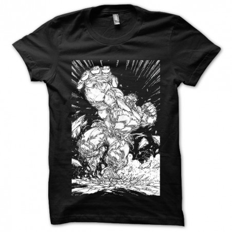 tee shirt Hulk furious black sublimation