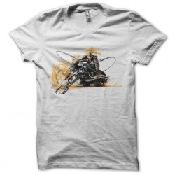 Ghost rider t-shirt on his white motorcycle sublimation
