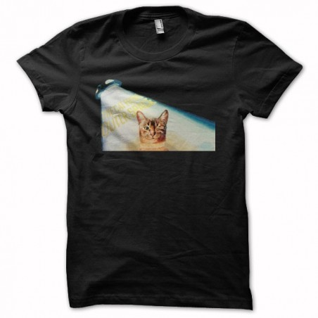 The cat from outer space black sublimation t-shirt
