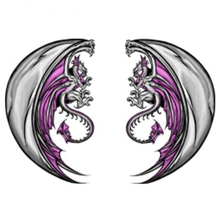Twin dragon tattoo t-shirt in white sublimation