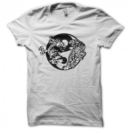 Tattoo dragon t-shirt against white tiger sublimation