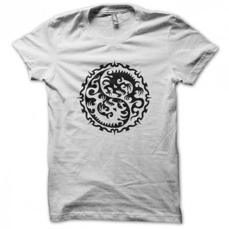 Tattoo shirt with the sign Ying Yang white dragon sublimation