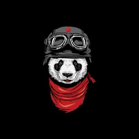 Panda biker black sublimation t-shirt