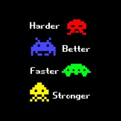 tee shirt harder better faster stronger space invaders sublimation