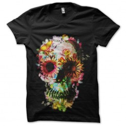 tee shirt squelette flowers...