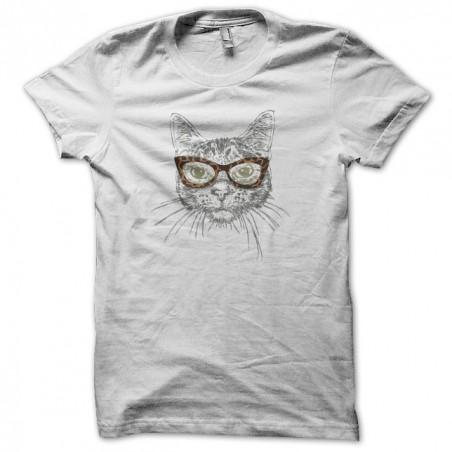 T-shirt cat with leopard sunglasses white sublimation