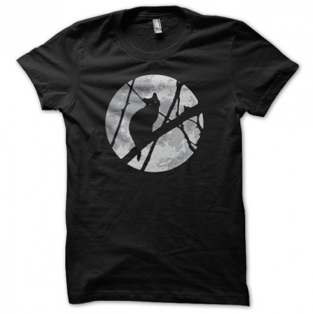 T-shirt cat in the moonlight black sublimation