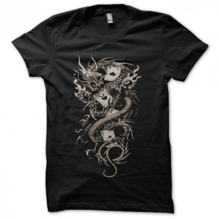 Dragon t-shirt and poker card black sublimation tattoo version