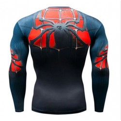 spiderman fitness shirt gym compression sublimation