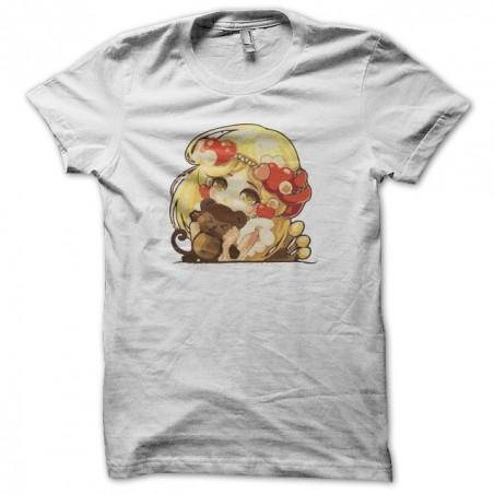 T-shirt girl manga with teddy white sublimation