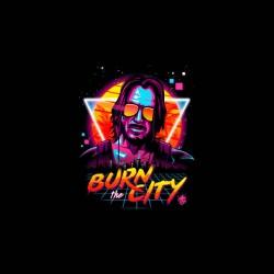 burn the city cyberpunk tshirt sublimation