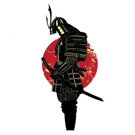Samurai tattoo t-shirt with sunrise white sublimation