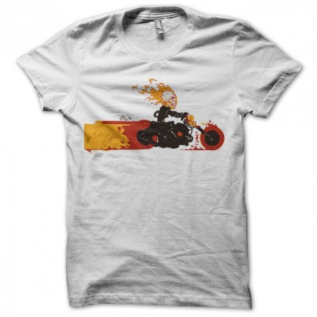 Ghost rider t-shirt on his motorcycle parody humor white sublimation