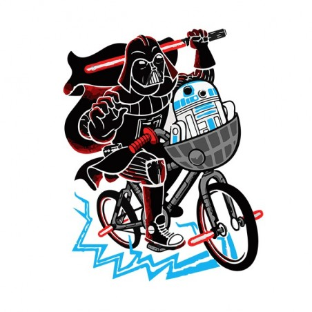 Dark vader and R2d2 T-shirt in white sublimation bike