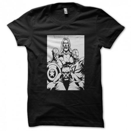 Hulk Thor IronMan super hero black sublimation t-shirt