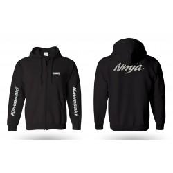 Veste hoodie kawazaki ninja avec zip brodée