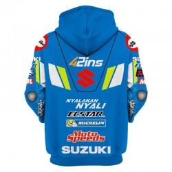 Veste à capuche suzuki bleu