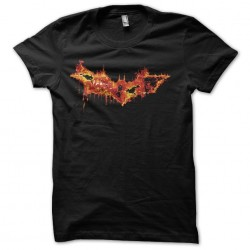 Bat man logo t-shirt in fire art black sublimation