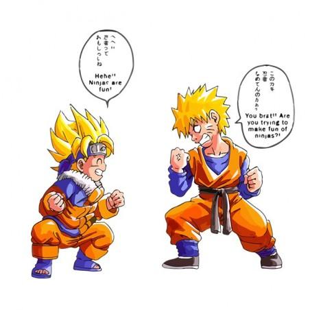 DBZ vs Naruto funny white parody t-shirt sublimation