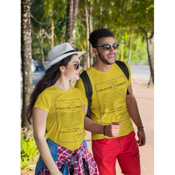 Coluche candidate yellow sublimation t-shirt
