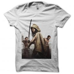 Walkin Dead Michonne artwork white sublimation t-shirt