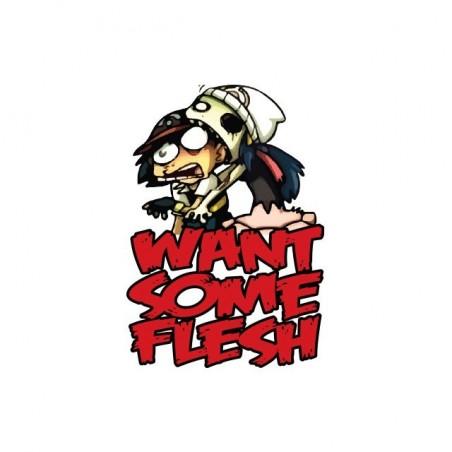 Zombie t-shirt want flesh parody Pokemon white sublimation