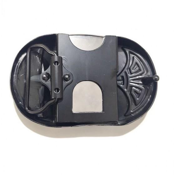 boucle de ceinture briquet essence as de pique avec ceinturon cuir optionnel