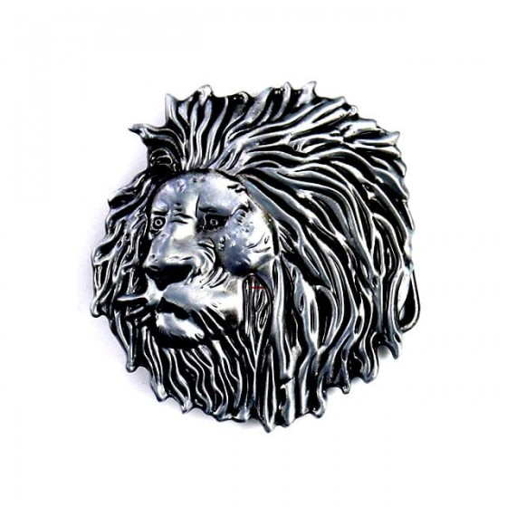 lion face belt buckle with...