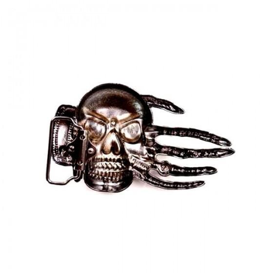 boucle de ceinture tête de mort satanique avec ceinturon cuir optionnel