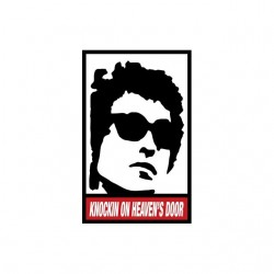 Bob Dylan Knockin t-shirt on heaven's door parody Obey white sublimation