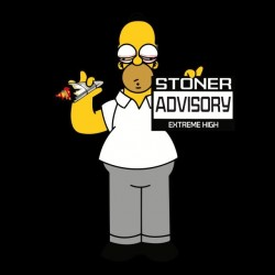 T-shirt stoner advisory extreme high Parody Homer simpson white black sublimation