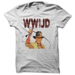 What Would Indiana Jones Do vintage artwork white sublimation t-shirt