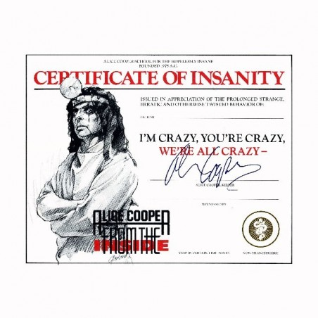 Tee shirt Alice Cooper certificate of insanity  sublimation