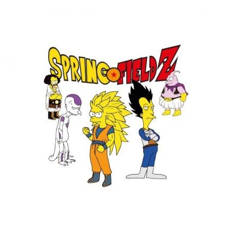 Springfield Z Simpsons parody t-shirt Dragonball Z white sublimation