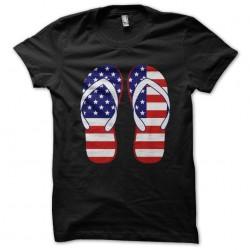 T-shirt pair of black sublimation black flip-flops