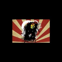 Bob Marley t-shirt on Japanese rays black sublimation