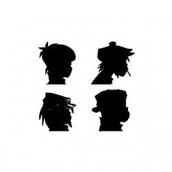 Gorillaz silhouettes album Daemon Days white sublimation t-shirt
