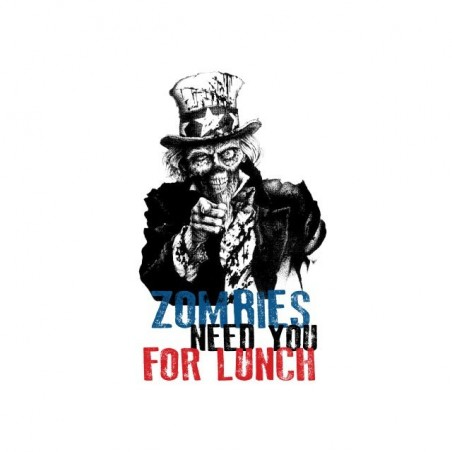 T-shirt Zombies need you for lunch parody Uncle Sam white sublimation