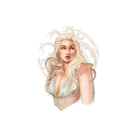 The Iron Throne Daenerys Targaryen portrait drawing white sublimation t-shirt